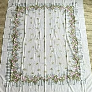 Vintage Printed Cotton Tablecloth Gray Pink Green